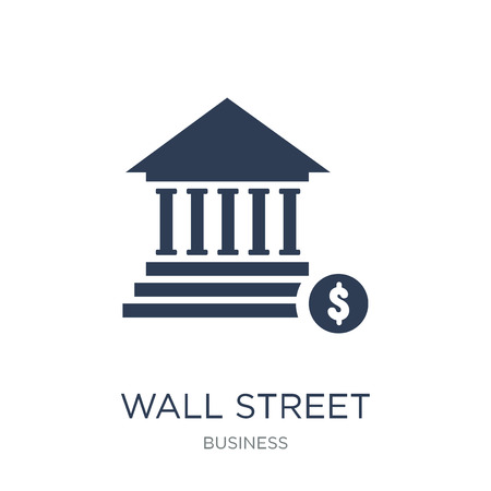Wall Street icon. Trendy flat vector Wall Street icon on white background from business collection, vector illustration can be use for web and mobile, eps10 Çizim
