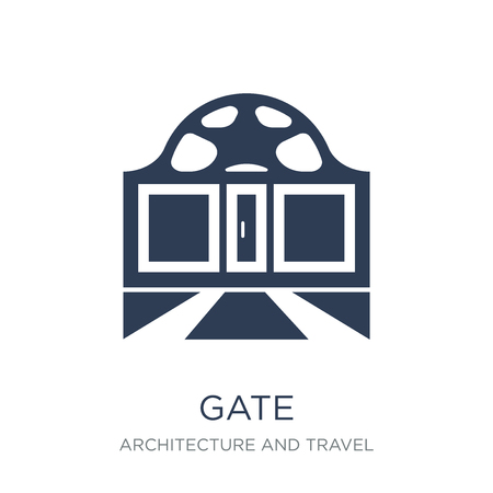Gate icon. Trendy flat vector Gate icon on white background from Architecture and Travel collection, vector illustration can be use for web and mobile, eps10
