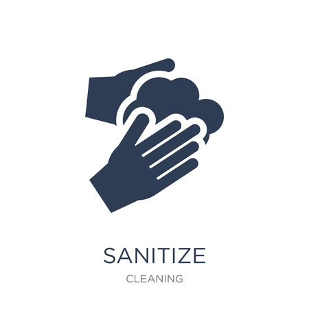 sanitize icon. Trendy flat vector sanitize icon on white background from Cleaning collection, vector illustration can be use for web and mobile, eps10