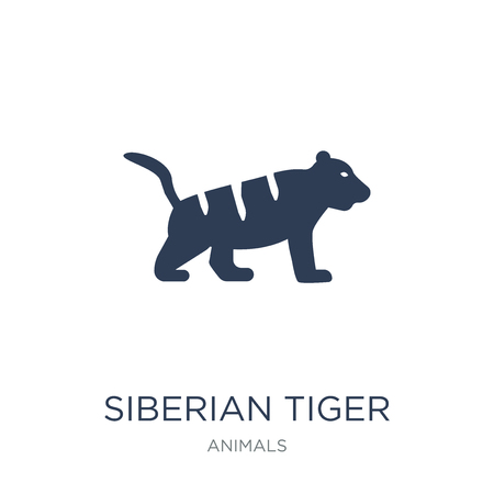 Siberian tiger icon. Trendy flat vector Siberian tiger icon on white background from animals collection, vector illustration can be use for web and mobile, eps10 Standard-Bild - 111944773