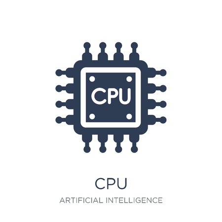 Cpu icon. Trendy flat vector Cpu icon on white background from Artificial Intelligence, Future Technology collection, vector illustration can be use for web and mobile, eps10 Çizim
