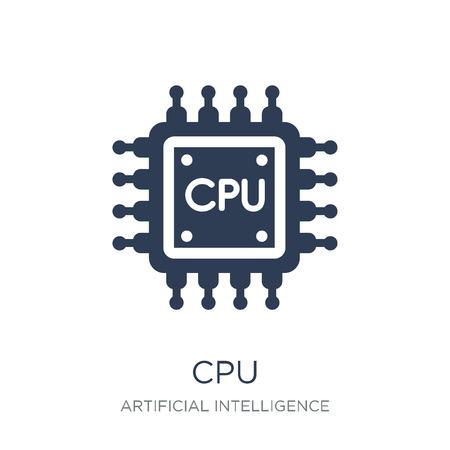 Icono de la CPU. Icono de Cpu de moda vector plano sobre fondo blanco de Inteligencia Artificial, colección de tecnología futura, Ilustración de vectores se puede utilizar para web y móvil, eps10 Ilustración de vector