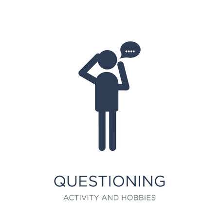 Questioning icon. Trendy flat vector Questioning icon on white background from Activity and Hobbies collection, vector illustration can be use for web and mobile, eps10 Banque d'images - 111974529