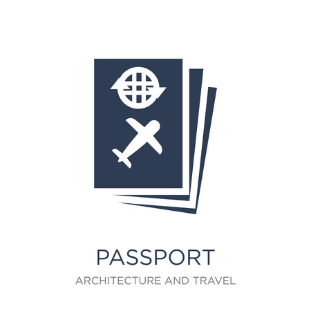 Passport icon. Trendy flat vector Passport icon on white background from Architecture and Travel collection, vector illustration can be use for web and mobile, eps10