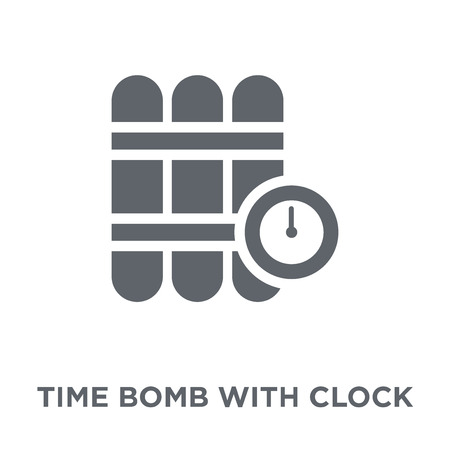 Time Bomb with Clock icon. Time Bomb with Clock design concept from Army collection. Simple element vector illustration on white background. Ilustracja