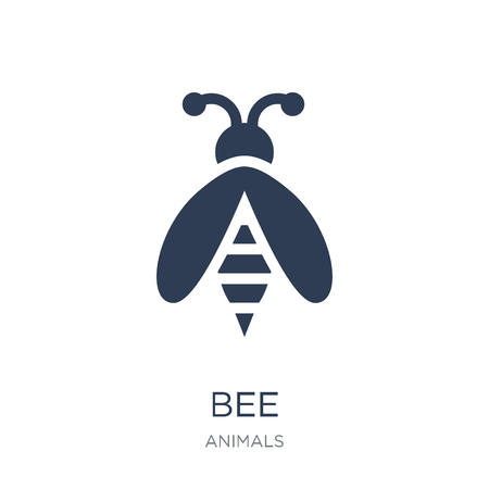 Bee icon. Trendy flat vector Bee icon on white background from animals collection, vector illustration can be use for web and mobile, eps10 矢量图像