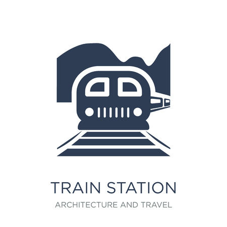 Train station icon. Trendy flat vector Train station icon on white background from Architecture and Travel collection, vector illustration can be use for web and mobile, eps10