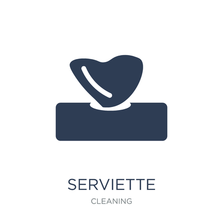 Serviette icon. Trendy flat vector Serviette icon on white background from Cleaning collection, vector illustration can be use for web and mobile, eps10  イラスト・ベクター素材