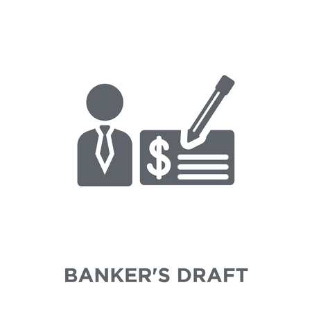 Bankers draft icon. Bankers draft design concept from Bankers draft collection. Simple element vector illustration on white background. Çizim