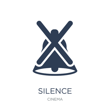 Silence icon. Trendy flat vector Silence icon on white background from Cinema collection, vector illustration can be use for web and mobile, eps10 Banque d'images - 111974568