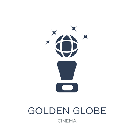 Golden globe icon. Trendy flat vector Golden globe icon on white background from Cinema collection, vector illustration can be use for web and mobile, eps10