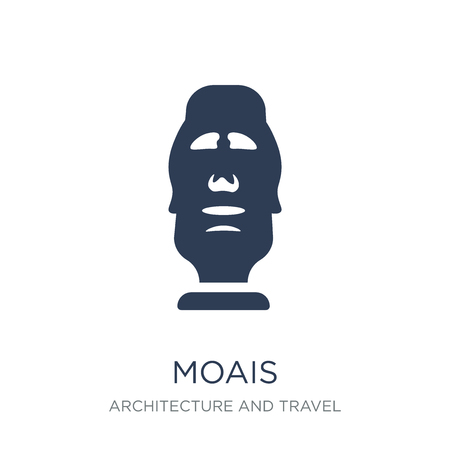 Moais icon. Trendy flat vector Moais icon on white background from Architecture and Travel collection, vector illustration can be use for web and mobile, eps10