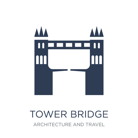 Tower bridge icon. Trendy flat vector Tower bridge icon on white background from Architecture and Travel collection, vector illustration can be use for web and mobile, eps10 Imagens - 111974574