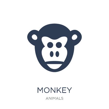 Affe-Symbol. Trendiges flaches Vektor-Affensymbol auf weißem Hintergrund aus der Tiersammlung, Vektorillustration kann für Web und Mobile verwendet werden, eps10