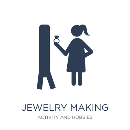 Jewelry making icon. Trendy flat vector Jewelry making icon on white background from Activity and Hobbies collection, vector illustration can be use for web and mobile Standard-Bild - 111839184