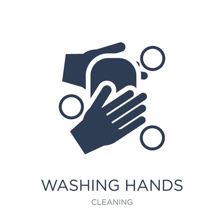 HET WASSEN VAN HANDEN pictogram. Trendy platte vector handen wassen pictogram op witte achtergrond uit schoonmaak collectie, vectorillustratie kan worden gebruikt voor web en mobiel, eps10