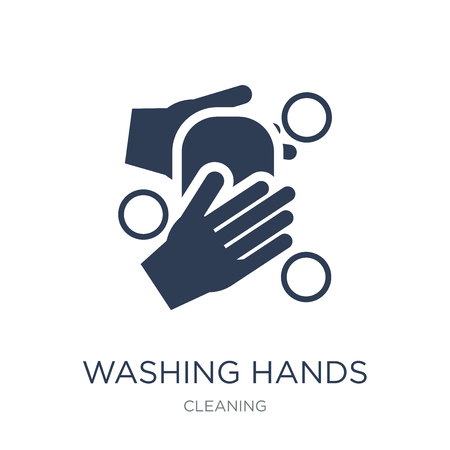 WASHING HANDS icon. Trendy flat vector WASHING HANDS icon on white background from Cleaning collection, vector illustration can be use for web and mobile, eps10 版權商用圖片 - 111974641