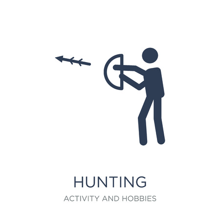 Hunting icon. Trendy flat vector Hunting icon on white background from Activity and Hobbies collection, vector illustration can be use for web and mobile, eps10 Archivio Fotografico - 111974645
