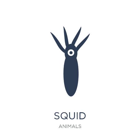 Icona di calamaro. Icona di calamaro piatto vettoriale su priorità bassa bianca da collezione di animali, illustrazione vettoriale può essere utilizzato per il web e mobile, eps10