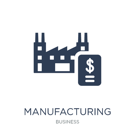 Manufacturing output icon. Trendy flat vector Manufacturing output icon on white background from Business collection, vector illustration can be use for web and mobile, eps10