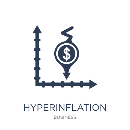 Hyperinflation icon. Trendy flat vector Hyperinflation icon on white background from Business collection, vector illustration can be use for web and mobile, eps10 Banque d'images - 111974663