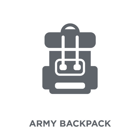 Army backpack icon. Army backpack design concept from Army collection. Simple element vector illustration on white background. Illustration