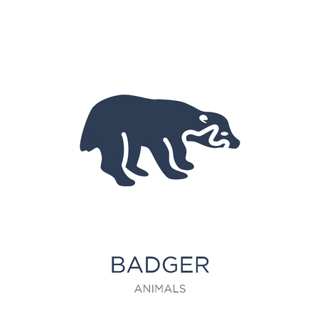 Badger icon. Trendy flat vector Badger icon on white background from animals collection, vector illustration can be use for web and mobile, eps10 Ilustracja