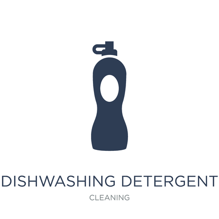 dishwashing detergent icon. Trendy flat vector dishwashing detergent icon on white background from Cleaning collection, vector illustration can be use for web and mobile, eps10