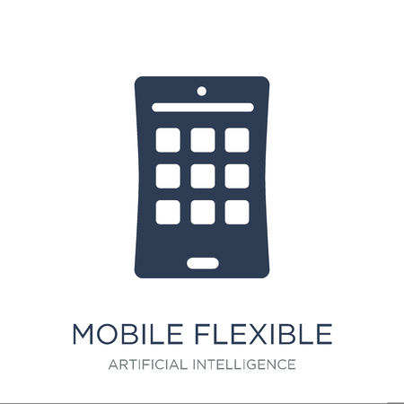 Mobile flexible display icon. Trendy flat vector Mobile flexible display icon on white background from Artificial Intelligence, Future Technology collection, vector illustration can be use for web and mobile, eps10