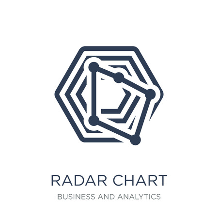 radar chart icon. Trendy flat vector radar chart icon on white background from Business and analytics collection, vector illustration can be use for web and mobile, eps10 Ilustração