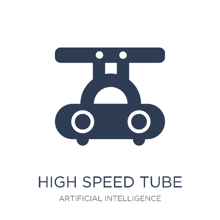 High speed tube icon. Trendy flat vector High speed tube icon on white background from Artificial Intelligence, Future Technology collection, vector illustration can be use for web and mobile, eps10 Illustration