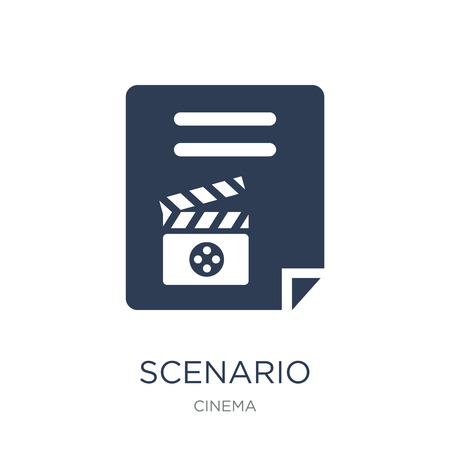 Scenario icon. Trendy flat vector Scenario icon on white background from Cinema collection, vector illustration can be use for web and mobile, eps10 Imagens - 111974696