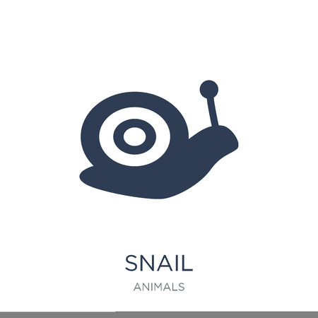 Snail icon. Trendy flat vector Snail icon on white background from animals collection, vector illustration can be use for web and mobile, eps10 Фото со стока - 111974704