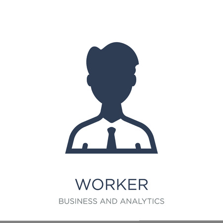 Worker icon. Trendy flat vector Worker icon on white background from Business and analytics collection, vector illustration can be use for web and mobile, eps10 Standard-Bild - 111974702