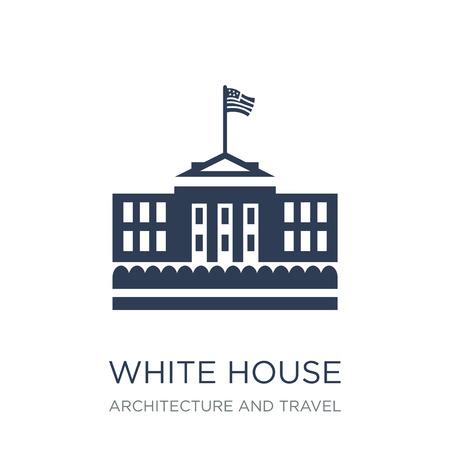 Icône de la Maison Blanche. Icône de maison blanche vecteur plat sur fond blanc de la collection Architecture et voyage, illustration vectorielle peut être utilisé pour le web et mobile, eps10 Vecteurs