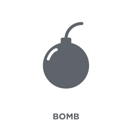 Icono de bomba. Concepto de diseño de bomba de colección Army. Ilustración de vector de elemento simple sobre fondo blanco.