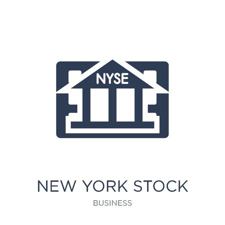 Icona della borsa di New York. Icona di borsa di New York piatto vettoriale su priorità bassa bianca da collezione Business, illustrazione vettoriale può essere utilizzato per il web e mobile, eps10
