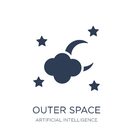 Outer space icon. Trendy flat vector Outer space icon on white background from Artificial Intelligence, Future Technology collection, vector illustration can be use for web and mobile, eps10