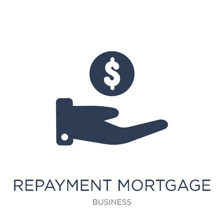 Symbol für die Rückzahlung der Hypothek. Trendige flache Vektorrückzahlungshypothek-Symbol auf weißem Hintergrund aus der Geschäftssammlung, Vektorillustration kann für Web und Mobile verwendet werden, eps10 Vektorgrafik