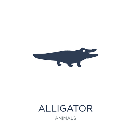 alligator icon. Trendy flat vector alligator icon on white background from animals collection, vector illustration can be use for web and mobile, eps10 Ilustração