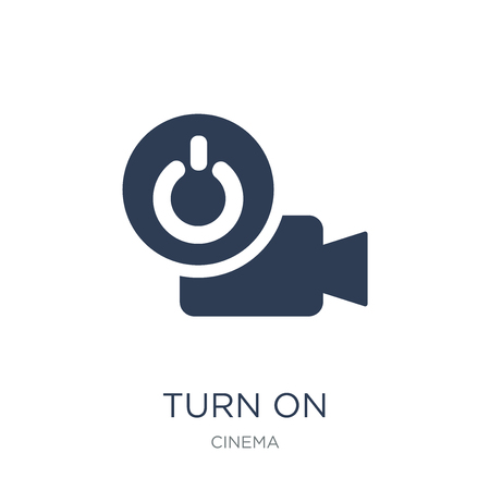 Turn on icon. Trendy flat vector Turn on icon on white background from Cinema collection, vector illustration can be use for web and mobile, eps10