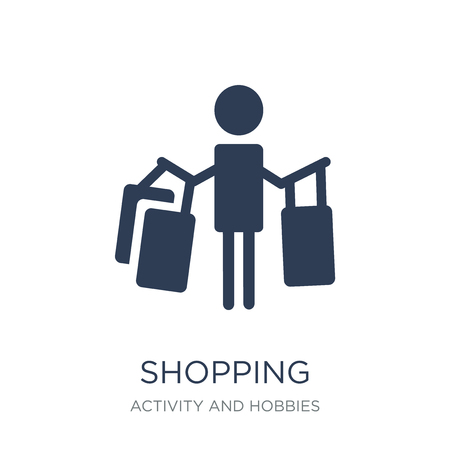 Shopping icon. Trendy flat vector Shopping icon on white background from Activity and Hobbies collection, vector illustration can be use for web and mobile, eps10