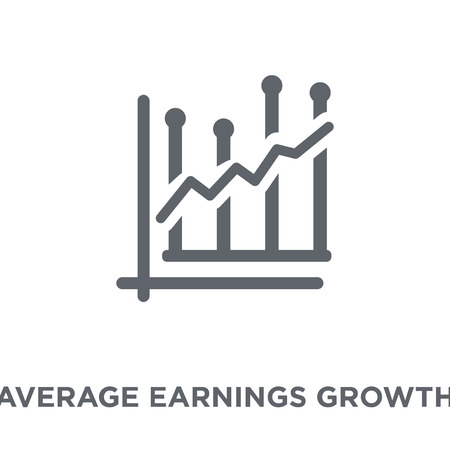 Average earnings growth icon. Average earnings growth design concept from Average earnings growth collection. Simple element vector illustration on white background.