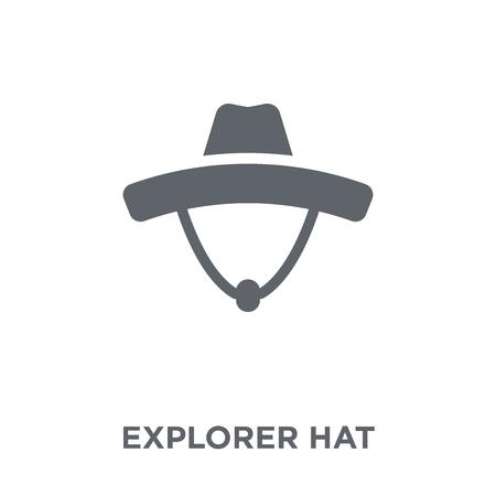 Icône de chapeau d'explorateur. Concept de design de chapeau d'explorateur de la collection Camping. Illustration vectorielle élément simple sur fond blanc.