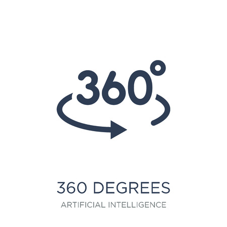 360 degrees icon. Trendy flat vector 360 degrees icon on white background from Artificial Intelligence, Future Technology collection, vector illustration can be use for web and mobile, eps10 Çizim