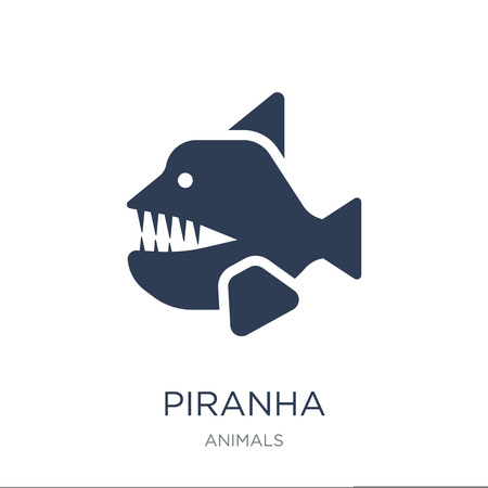 Piranha icon. Trendy flat vector Piranha icon on white background from animals collection, vector illustration can be use for web and mobile, eps10