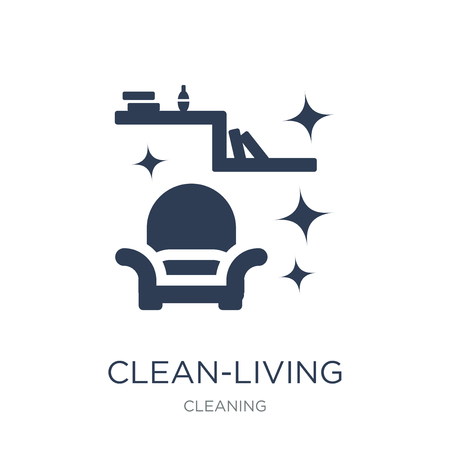 clean-living icon. Trendy flat vector clean-living icon on white background from Cleaning collection, vector illustration can be use for web and mobile, eps10