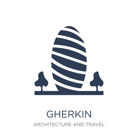 Gherkin icon. Trendy flat vector Gherkin icon on white background from Architecture and Travel collection, vector illustration can be use for web and mobile, eps10 Ilustrace