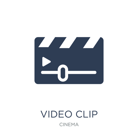 Video Clip icon. Trendy flat vector Video Clip icon on white background from Cinema collection, vector illustration can be use for web and mobile, eps10
