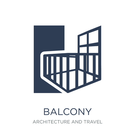Balcony icon. Trendy flat vector Balcony icon on white background from Architecture and Travel collection, vector illustration can be use for web and mobile, eps10 Ilustracja